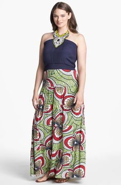 4d70ae3d756 Tbags Los Angeles Mixed Media Halter Maxi Dress (Plus Size)