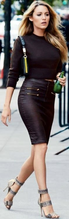 The always stylish Blake Lively doing it right in a black skin tight pencil skirt and cropped sweater.