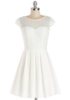 Elite the Way Dress - White, Solid, Lace, Pleats, A-line, Cap Sleeves, Better, Scoop, Sheer, Knit, Woven, Mid-length, Party