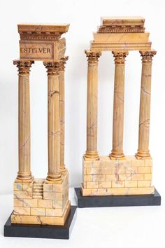 Two Grand Tour Giant Size Sienna Marble Ruins of The Temples of Vespasian and The Heavenly Twins, Castor and Pollux - Neoclassical - Italy - Century Architectural Columns, Architectural Sculpture, Architectural Models, Grand Tour, Decoration, Art Decor, Asian House, Castor And Pollux, Marble Lamp