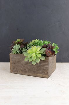 """5.99 SALE PRICE! Display your favorite fresh arrangements inside this Wood Planter Box. The small wood box measures 7.6"""" long and is 5.4"""" wide. It ..."""