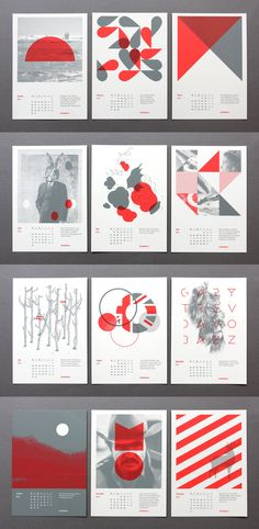 """2012 Calendar Cards / StudioBrave / """"Our latest self initiated studio project is this set of calendar cards. The limited edition run of A5 cards were beautifully screen printed by Superscreen"""""""