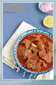 Rajasthani spicy laal maas is a non veg delicacy from Rajasthan India. Spicy, flavorful goat curry cooked in yogurt and a spicy spice mix. Lamb Recipes, Veg Recipes, Curry Recipes, Indian Food Recipes, Vegetarian Recipes, Cooking Recipes, Ethnic Recipes, Cooking Blogs, Indian Foods
