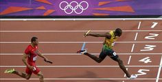 Jamaica's Usain Bolt at the finish line at London 2012