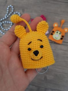 Crochet Key Cover, Key Covers, Disney Cartoons, Crochet Toys, Winnie The Pooh, Origami, Beanie, Mavis, Key Chain
