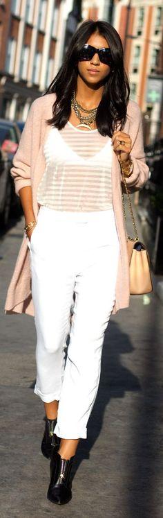 White Stripe Sheer Tshirt                                                                             Source