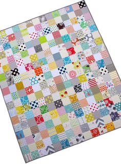 "In her own words: ""a simple patchwork quilt with a quiet and delicate color palette""; Rita at redpepperquilts.com"