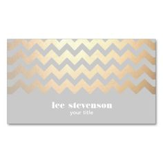 Faux Gold Foil Zig Zag Pattern Gray Cool Trendy Business Card Templates