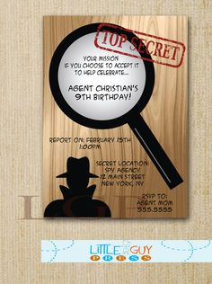 Birthday Party Secret Agent Invitations, Spy Birthday Party Invitations, Printable