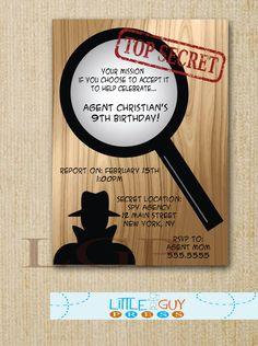 Birthday Party Secret Agent Invitations, Spy Birthday Party Invitations, Printable