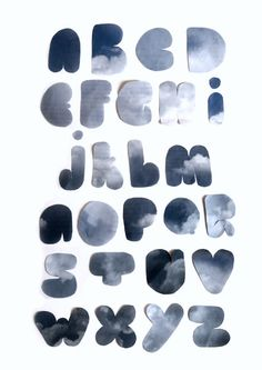 alphabet Alphabet In Different Fonts, Alphabet Soup, Cyanotype, Block Lettering, Cute Cards, Typography, Letters, Graphic Design, Sun