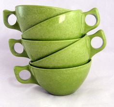 Amazing green. Hats off to form and function. - Vintage Melmac Coffee Cups in Spray Lime Green