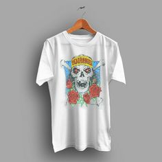 b52fee8a23 Soft And Aged Heavy Metal Headbanger Skull and Roses Vintage 70s T Shirt