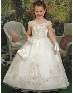 off the shoulder ivory flower girl dress | ... dresses with lace jacket princess embroidery flower girl dresses US$ 0
