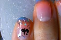 Hokuri Nails Are The Most Kawaii Form Of Nail Art Ever! Here's a list of different designs! Gorgeous Nails, Love Nails, Pretty Nails, Cat Nail Art, Cat Nails, Garra, Halloween Nail Designs, Halloween Nails, Japanese Nail Art