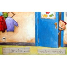 A modern classic! Author/illustrator David Shannon's very collectible original art from David Goes to School -- one of the very last original . Duck On A Bike, Bad Case Of Stripes, David Shannon, Original Paintings, Original Art, Book Authors, Modern Classic, Bold Colors, Fine Art Paper