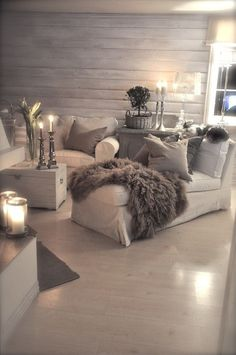 Grey makes a perfect neutral for the home. And the mix of textures makes it comfy and cozy