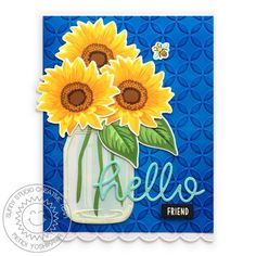 Sunny Studio: Sunflower Fields Layered Flower Hello Friends Embossed Card (using Vintage Jar Stamps, Stitched Scalloped Border dies & Moroccan Circles Embossing Folder) Sunflower Cards, Sunflower Fields, Sunnies Studios, Studio Cards, Vintage Jars, Fall Gifts, Fall Bouquets, Distress Ink, Embossing Folder