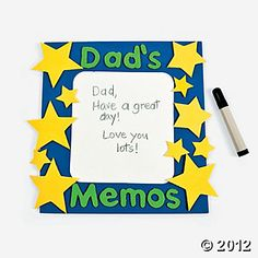 Dad Craft! Laminte white piece of paper and frame it for a lovely, small dry-erase board.