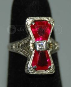 1920 | Art Deco Diamond and Ruby Ring