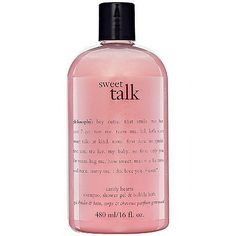 philosophy Sweet Talk Shower Gel, 16 Ounce by Philosophy. $17.91. Provides a rich, foaming lather. Delicious scent that won't linger when your bath or shower is over. Gentle formula for everyday use. With sweet talk candy hearts shampoo, shower gel and bubble bath, share sweet messages and inspire flirty smiles. Our 3-in-1 shower gel cleanses and conditions skin and hair for a multi-sensory shower experience. The 3-in-1 formula provides a rich, foaming lather, leaving skin and h...