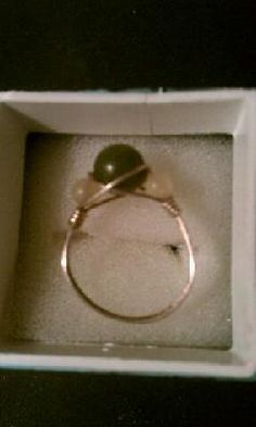 SILVER WIRE WRAPPED JADE BEAD RING - SIZE 7 - FREE SHIPPING