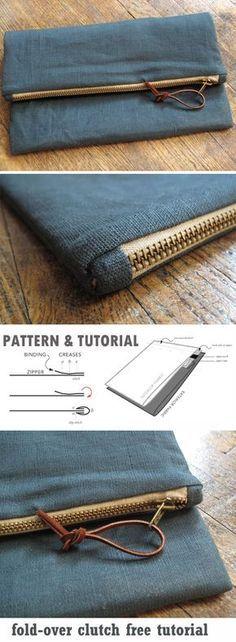 DIY Step-By-Step Foldover Clutch Tutorial. http://www.free-tutorial.net/2017/10/foldover-clutch-tutorial.html