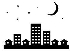 星空と月とビル・家・建物が立ち並ぶ街のイラスト