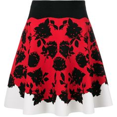 Alexander McQueen floral print skirt (10,835 CNY) ❤ liked on Polyvore featuring skirts, red, floral printed skirt, floral print skirt, red floral skirt, red skirt and short skirt