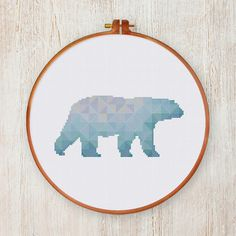 Geometric Polar Bear cross stitch pattern Modern animal