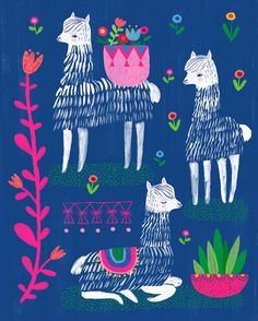 Happy Alpacas by Sarah Walsh by Tigersheepfriends on Etsy https://www.etsy.com/listing/186286498/happy-alpacas-by-sarah-walsh
