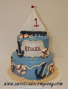 Nautical first birthday party cake