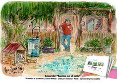 """Acuarela: Sapitos en el patio"""". """"Apenas vio los sapitos, pensó: - Va para largo la cosa"""""""