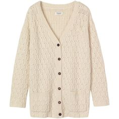 Toast Aran Cardigan (115 AUD) ❤ liked on Polyvore featuring tops, cardigans, sweaters, outerwear, jackets, antique white, cable cardigan, long button cardigan, long sleeve tops and chunky cable knit cardigan