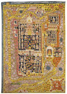 Temple City, Jain Temple, Southeast Asian Arts, Blue Pigment, Old Maps, Tribal Art, Pilgrimage, Impressionist, Modern Art