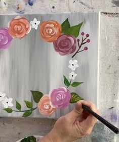 How To Paint A Floral Wreath Painting Flowers Tutorial, Easy Flower Painting, Summer Painting, Art Painting Tools, Canvas Painting Tutorials, Simple Rose, Simple Flowers, Flower Canvas, Flower Art