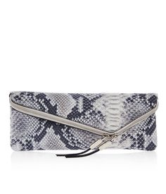 Fab clutch! Debutante Slim Asymmetrical Snake Clutch | New Arrivals | Henri Bendel