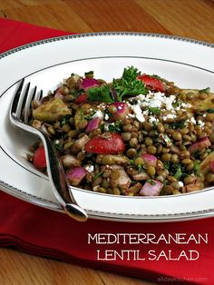 vegan mediterranean vegetable lentil salad with balsamic vinaigrette and feta cheese make it dairy free by omitting cheese