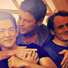 John Cho, Karl Urban, & Anton Yelchin - literally want to cry now after reading this. Star Trek Chekov, Star Trek Cast, New Star Trek, Star Wars, Star Trek Reboot, John Cho, Anton Yelchin, Star Trek 2009, Star Trek Movies