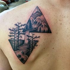 Mens Trees Waterfall Triangle Tattoo On Back
