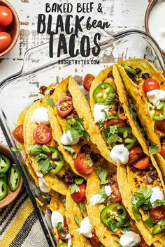 Baked Beef and Black Bean Tacos are a fast and easy way to take Taco Tuesday to the next level and is the perfect fast and easy weeknight meal. Healthy Dinner Recipes, Mexican Food Recipes, Beef Recipes, Breakfast Recipes, Vegan Recipes, Mexican Dinners, Fish Recipes, Ethnic Recipes, Black Bean Tacos