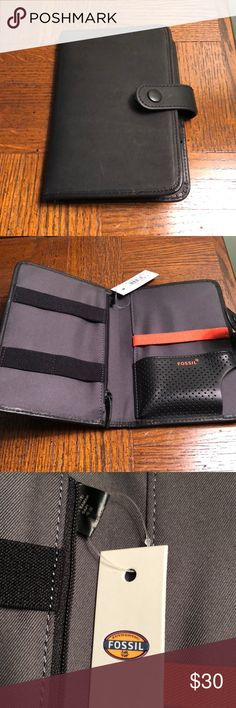 Genuine leather Fossil tech carrier. NWT Unisex tech carrier! Holds your phone, credit cards, money! It also has a zipper compartment Fossil Accessories Key & Card Holders