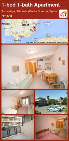 Apartment for Sale in Torrevieja, Alicante (Costa Blanca), Spain with 1 bedroom, 1 bathroom - A Spanish Life Two Bedroom Apartments, Apartments For Sale, Murcia, Alicante, Valencia, Santa Ponsa, Torrevieja, Studio Apartment, Open Plan