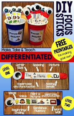 FREE printables for creating your own classroom set of focus sticks. Differentiated too!