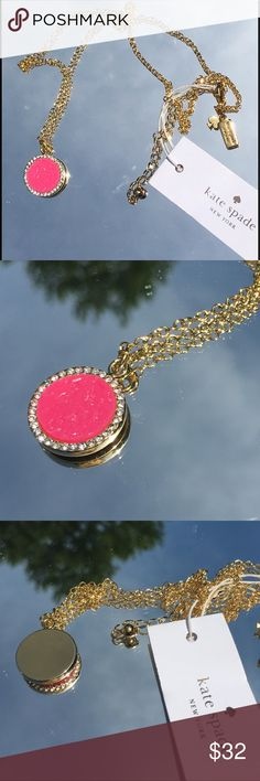 NEW kate spade all that glitters pendant necklace SPARKLY AND FUN kate spade all that glitters pendant necklace! Beautiful hot pink resin druzy halo pendant. 12k gold plated chain. Love it! Price Firm kate spade Jewelry Necklaces