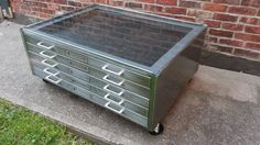 Brushed Steel Flat File Coffee Table w Glass Top in Brooklyn, New York ~ Krrb Classifieds