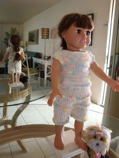 """Sparkly Holiday Lounging Pajamas free knitting pattern for 18"""" dolls"""