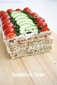 Home Style & Cuisine: Sandwich Cake (бутербродный торт) - Home Style & Cuisine: Sandwich Cake (бутербродный торт) - Sandwhich Cake, Sandwich Loaf, Sandwich Platter, Tea Party Sandwiches, Appetizer Sandwiches, Brunch, Snacks Für Party, Appetizers For Party, Homemade Sandwich Bread