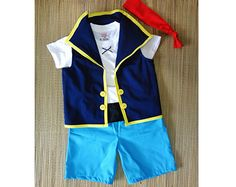 Jake Set (Shorts)  - Jake and the neverland pirates costume- Jake Birthday Outfit - First Birtday Outfit - 6M to 7Years