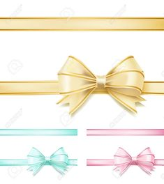 set of soft color bows ribbons on white. Presentation Design Template, Soft Colors, Ribbons, Bows, Templates, Illustration, Decor, Models, Decoration